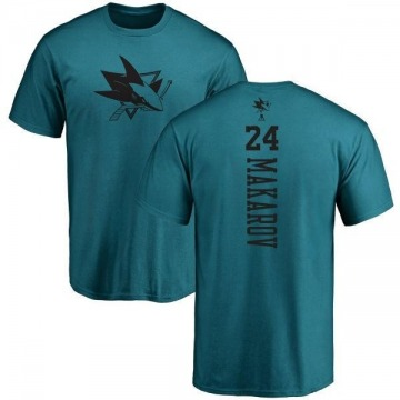 Men's Sergei Makarov San Jose Sharks One Color Backer T-Shirt - Teal